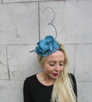 5bd37a35bff0e Teal Dark Turquoise Blue Orchid Feather Flower Fascinator Headband Races  6881
