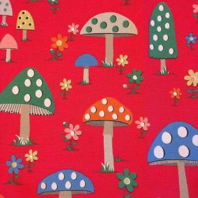 Cath Kidston Mushroom Fabric Remnants Cotton Duck Red Toadstool