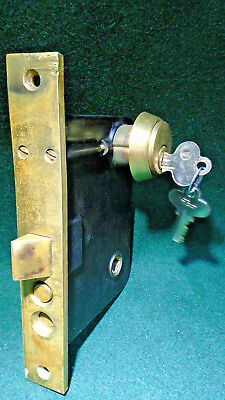 "VINTAGE: RUSSWIN P1248 1/2 ENTRY LOCK w/CYLINDER & KEYS 7 3/4"" FACE NICE(11564)"