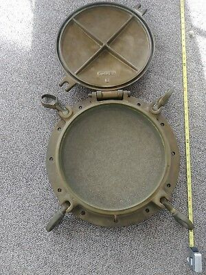 Giant Brass Bronze Antique Porthole With Cover