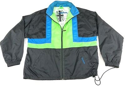4d22defb9fe2 Vintage 90s REEBOK Neon Green Blue Black Windbreaker XL Vented Color Block  Hood
