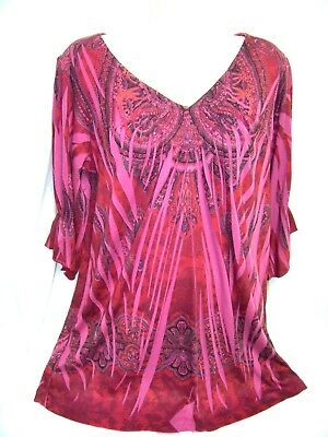 2fd6a51fa91 Woman s 1X XL Sublimation BOHO Shirt Top Magenta Geometric Smocking Sparkles
