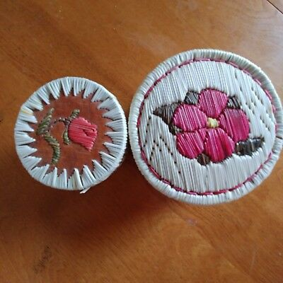 Two Porpupine Quill Boxes with Lid Flower Design Vintage Native American