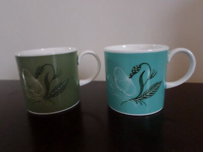 2 x Susie Cooper 'Flower Motif' Coffee cups, sage green and turquoise