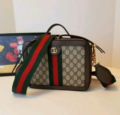 5d925e1fab9c2b GUCCI ❤ Ophidia Small GG Square Shoulder Bag Monogram Canvas Leather Web NEW !