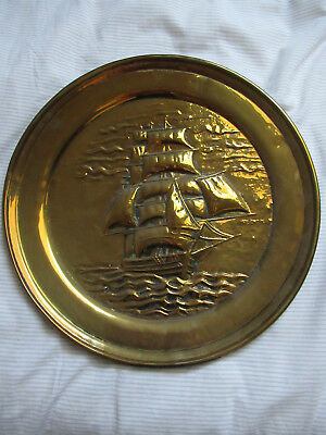 Nautical brass round plaque of Racing Clipper Thermopylae (beat the Cutty Sark!)