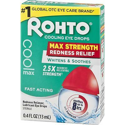 Rohto Cooling Eye Drops Maximum Redness Relief 0.4 fl oz 13 ml fast acting