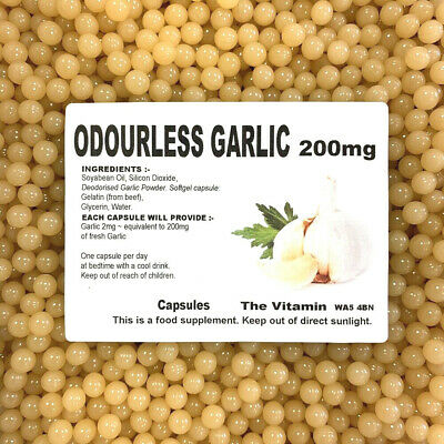 Odourless Garlic 200mg        1000 Capsules                (L)