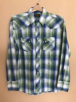 Rustler by Wrangler Mens XL Western Pearl Snap Shirt Long Sleeve Plaid