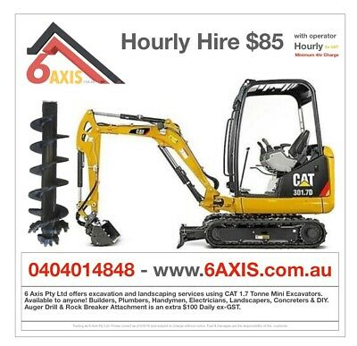 Mini Excavator hire SYDNEY Post Hole Digger Auger Pier Excavation Landscaping