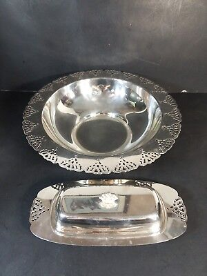 """(2)Silver Plate Lg. Bowl 11 3/4x 2 3/4 """",Butter Dish 9.25 Home Decorations inc."""