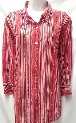 e3c4bbedabb Womens Button Down Shirt Red Plus Size 3X Embroidered 3 4 Sleeve Tunic Top