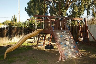 Wood Costco Deluxe Swing Set Slide Rock Wall Monkeybar Sunray