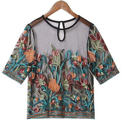Women Summer Floral Lace Floral Loose Casual Tops Shirt Blouse Tunic Top M-4XL