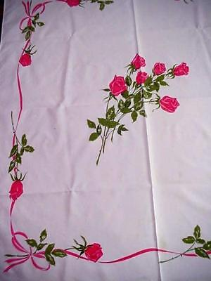 Vintage CALIFORNIA HAND PRINTS Cottage RED ROSE Tablecloth FLORAL Roses Ribbons
