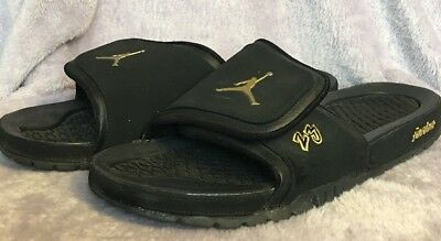 cea53ba929a4f6 Nike Jordan Hydro 2 Premier Men s 456524-042 Black Gold Slide Sandals Size  14
