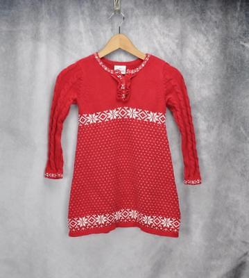 2a821d1a699 HANNA ANDERSSON GIRLS Snowlflake Sweater Dress Size 110 US 5 Red ...
