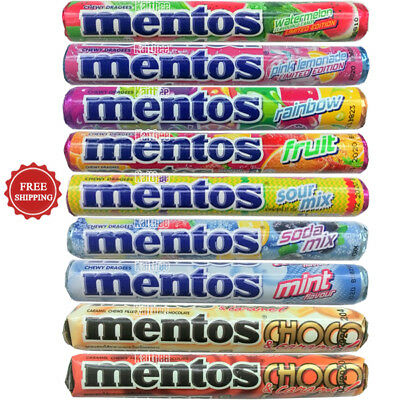 Mentos Chewy Candy Watermelon Pink Lemonade Soda Mix Fruit Mint 1 Roll = 37 g.