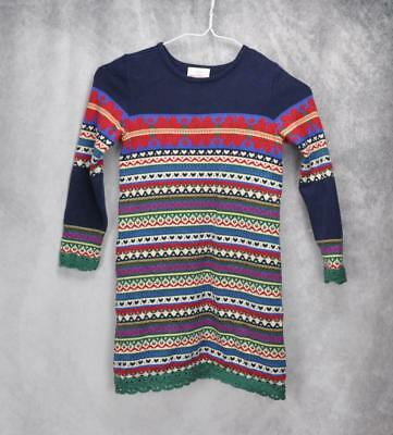 9951458be52 Hanna Andersson Girls Patterned Sweater Dress Size 110 US 5 Multicolor