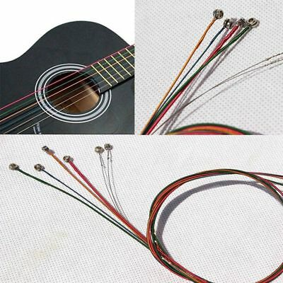One Set 6Pcs Rainbow Multi Color Guitar Strings Stainless Steel Alloy 1M