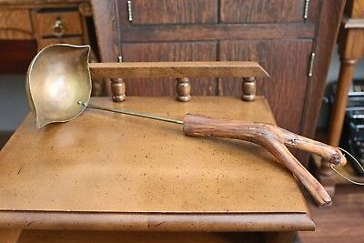 Antique Primitive Brass Ladle with Wooden Branch Handle Handcrafted & Marked