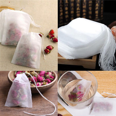 100pcs Empty Teabags String Heat Seal Filter Paper Herb Loose Drink Tea Bags BS