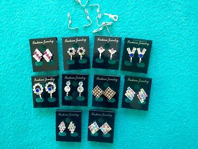 JOBLOT-10 pairs of CLIP ON crystal/colour diamante earrings.Silver plated.
