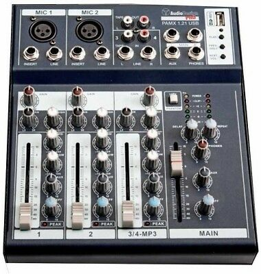 Console Sound Mixer Audio Professionale 4 Canali Usb Delay Dj Karaoke Pianobar