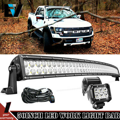 50 inch White LED Light Bar Curved Off Road Truck Boat Ford Jeep SUV 4WD UTE 4x4