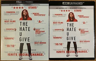 The Hate U Give 4K Ultra Hd Blu Ray 2 Disc Set + Slipcover Sleeve Free Shipping
