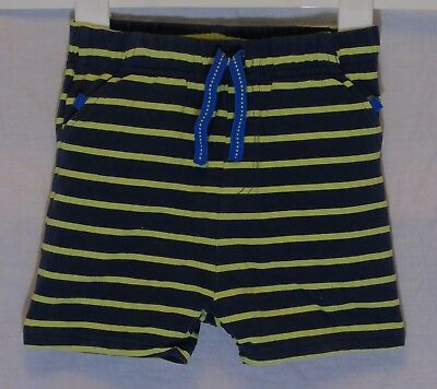 Baby Boys M&S Blue Green Stripe Elasticated Waist Jersey Shorts Age 12-18 Months