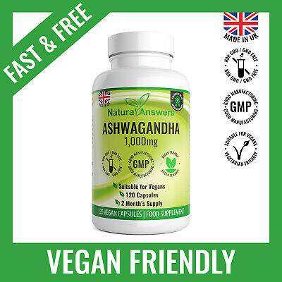 Ashwagandha 1000mg 120 Capsules Strong Stress Anxiety Relief Fatigue SAFE DOSE