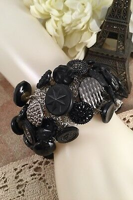 Antique Jet Black Silver Glass Mourning Buttons Vintage Cuff Bangle Bracelet