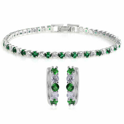 Lab Created Emerald Cubic Zirconia CZ Huggie Hoops Earrings Tennis Bracelet Set