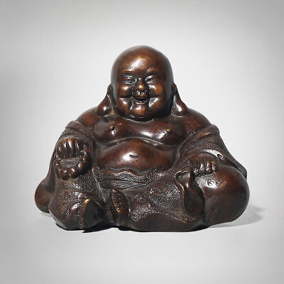 Fine Chinese Sitting Laughing Fat Buddha Statue Ornament Decoration Gift Marks