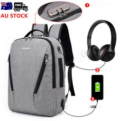 Men Women Anti-theft USB Charging School Rucksack Laptop Backpack Travel Handbag