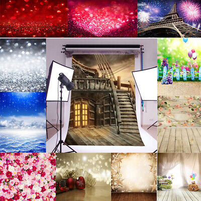 Vinyl Background Studio Props Baby Variety Wood Cloth Wall Photo Backdrops 5x7FT