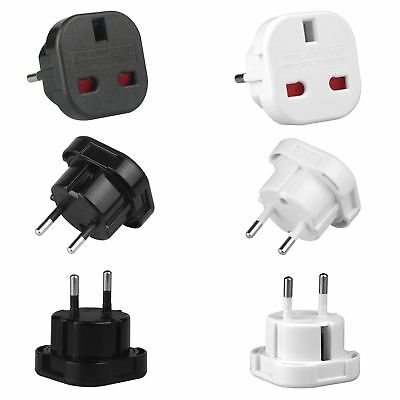 UK to EU Europe European Mains Travel Adapter 3 To 2 Pin Plug Euro