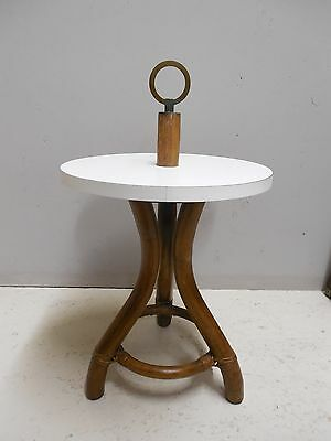 "Ficks Reed Vintage Bamboo Rattan Round Accent Table 16""W x 19.5""H"