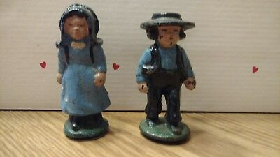 Vintage Metal Amish Man and Woman figurine possibly cast iron