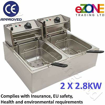 Table Top Deep Fat Fryer 2x2.8 kW Electric Twin Basket Tank Oil Fish Chip Pan