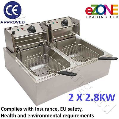Takeaway Electric Deep Fat Fryer Twin 2.8kW Stainless Steel Countertop Chip Fish