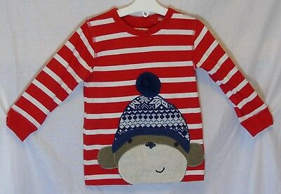 Baby Boys Next Red White Stripe Monkey Cuffed Long Sleeve Top Age 18-24 Months