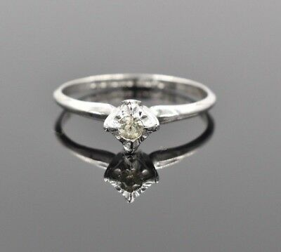 Vintage ESPO 18k White Gold Filled Band CZ Solitaire Engagement Ring Thin 10.75