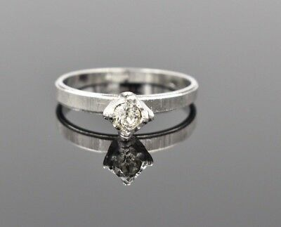 Vintage ESPO 18k White Gold Filled Etched Band Solitaire Engagement Ring 10.75