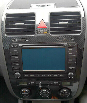 VW Golf Mk5 5D Gloss Carbon Fibre effect climatronic dash + air vents C