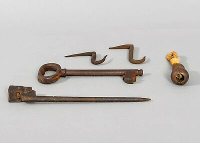 WOW! Rare 5 Piece Mixed Lot of Antique Cast Iron Key Weight Bayonet Nails