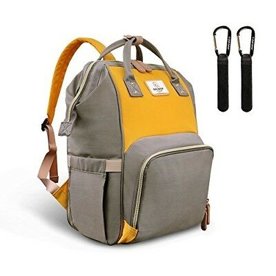 Baby Nappy Changing Backpack Bag Large Capacity Dark Grey-Yellow Born Accessory
