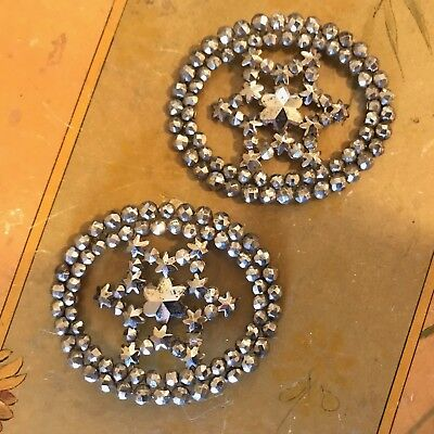 Pair of Antique Victorian Riveted Cut Steel Oval Shoe Buckles Clips w/ Stars