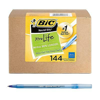BIC Round Stic Xtra Life Ballpoint Pen, Medium Point 1.0mm, 144-Count - Blue
